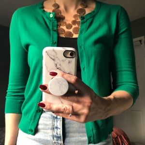 The Limited Bright green 3/4 sleeve cardigan.
